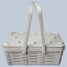 Basket Purse Fabric Lined Vintage Japan White Novelty Picnic Style