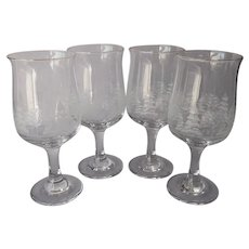 Libbey Winter Scene Wine Glasses Goblets Tulip Shaped 4 Vintage