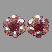 Red AB Rhinestone Earrings Clip On Vintage Cluster Warner