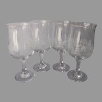 Libbey Winter Scene Wine Glasses Goblets Tulip Shaped 4 Vintage