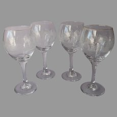 Libbey Winter Scene Water Wine Goblets Glasses 6 Vintage Rounded Balloon