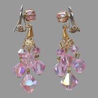 Pink AB Crystal Beads Earrings Clip On Vintage Dangle