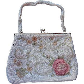 3D Pink Rose Glass Beads Beaded Purse White Vintage Japan