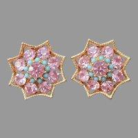 BSK Clip On Earrings Pink Rhinestones Faux Turquoise Vintage
