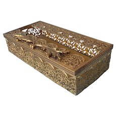 Ornate Filigree Tissue Box Cover Vintage Gold Plated Vanity