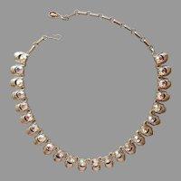 Coro AB Rhinestone Necklace Vintage Choker Gold Tone