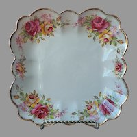 Old Foley Garland Rose English Square Dish Vintage Porcelain Pink Yellow Gold