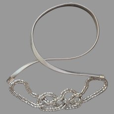XL Vintage Belt Silver Tone Stretch 1980s Mesh Knot Skinny Omega