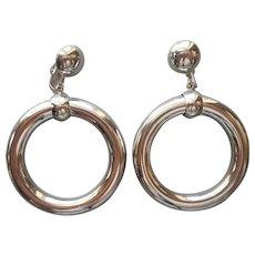 1980s Big Clip On Hoop Earrings Dangle Silver Tone Vintage