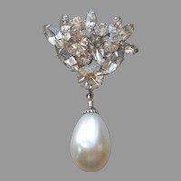 1960s Faux Baroque Pearl Drop Rhinestones Pin Vintage Silver Tone