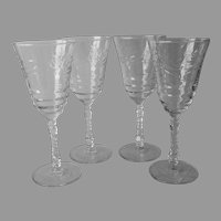 Arctic Rose 4 Water Goblets Vintage Stemware Wine Glasses Libbey Rock Sharpe