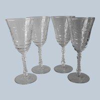 Arctic Rose 4 Water Goblets Vintage Stemware Wine Glasses Libbey Rock Sharpe