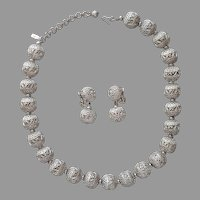 Monet Filigree Balls Necklace Clip On Earrings Silver Tone Vintage