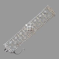 Weiss Wide Lacy Openwork Rhinestone Bracelet Vintage Silver Tone