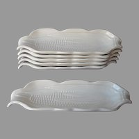 Pillivuyt France Set 6 White Faience Corn On The Cob Holders Dishes Vintage