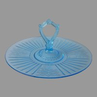Mayfair Depression Glass Blue Center Handle Server Open Rose Vintage