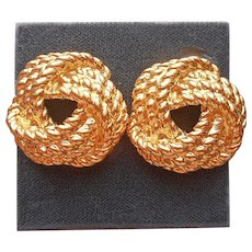 1980s Carolee For Talbots Earrings Clip On Gold Rope Knot Vintage