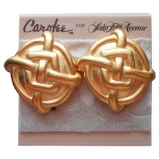 1980s Carolee For Saks Fifth Avenue Clip On Earrings  Original Card Vintage