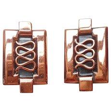 Renoir Copper Earrings Vintage Clip On