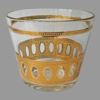 Culver Antigua Ice Bucket Bowl Vintage Gold Barware Glass
