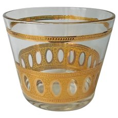 Culver Antigua Ice Bucket Bowl Vintage Gold Barware Glass