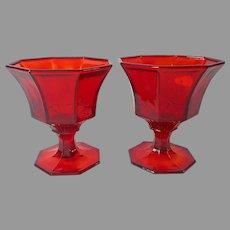 Independence Red Glass 2 Sherbet Stems Glasses Vintage 1970s