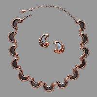 Renoir Copper Necklace Earrings Set Vintage Clip On Oxidized Curls Black