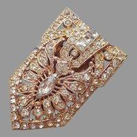 Art Deco Dress Clip Gold Tone Rhinestones Vintage