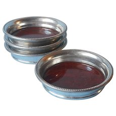 Revere Pewter Coasters Set 4 Faux Rosewood Formica Vintage 1950s