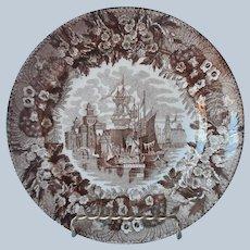 Italian Transferware Plate Brown Antique Andrea Galvani Pordenone Ferrara