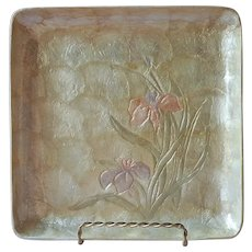 Capiz Shell Tray Vintage Iris Flowers Square