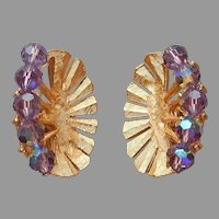 Crown Trifari Earrings Clip On Purple Glass Beads Vintage TLC