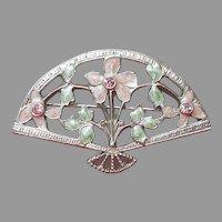 1928 Jewelry Co.  Company Fan Pin Pink Enamel Silver Tone Vintage