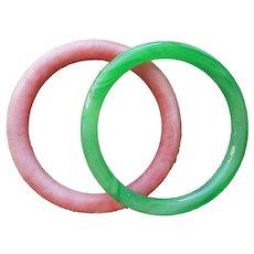 Chinese Sewing Basket Rings Peking Glass Pink Green Vintage to Antique