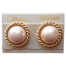 1980s Ice Pink Faux Pearl Carolee For Neiman Marcus Earrings Clip On Vintage