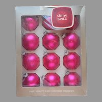 Shiny Brite Hot Pink 12 Vintage Glass Ornaments Christmas Tree In Box