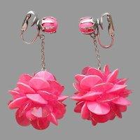 1960s Hot Pink Dangle Petal Ball Earrings Clip On Vintage Plastic