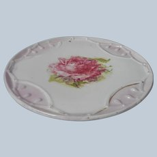 Tea Trivet Tile Antique Pink Rose White Porcelain