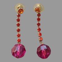 1980s Hot Pink Orange Rhinestones Pierced Drop Earrings Vintage