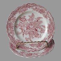 Crown Ducal Bristol Pink Transferware 2 Bread Plates Vintage English China