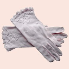 Pale Pink Gloves Hand Embroidered Stitched Vintage S to M