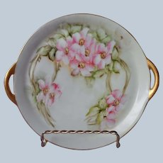 Hand Painted Perfume Tray Pink Roses Green Gold Porcelain Antique