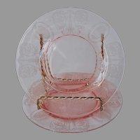 Balda Pink Etched Central Glass Works Bread Plates Vintage