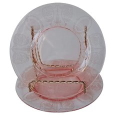 Balda Pink Etched Central Glass Works Bread Plates Vintage