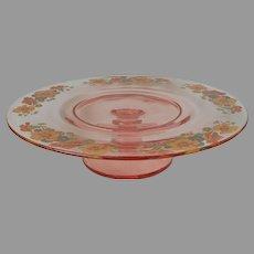 Pink Cake Stand Pedestal Depression Nasturtiums Decoration Vintage