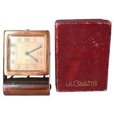 Le Coultre Travel Alarm Clock Box Copper Finish Vintage Needs TLC