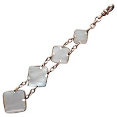 Watch Fob Mother Of Pearl Antique Long Bezel Set Pendant Links