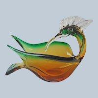 1960s Murano Glass Bird Bowl J.I. Co. Vintage Mid Century Green Amber