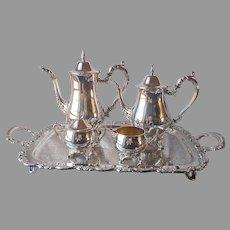 Oneida Du Maurier Tea Coffee Set Footed Tray Handles Vintage