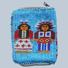 Native American Seed Bead Beaded Pouch Purse Wallet Vintage Leather